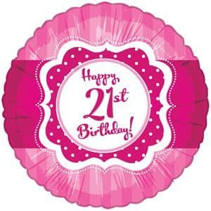 "Age 21 Happy Birthday Pink and White 18"" Foil Balloon"